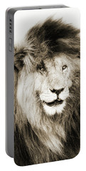 Scar Lion Closeup Square Sepia Portable Battery Charger