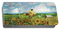Scare Crow And Silo Farm Portable Battery Charger by Bonnie Siracusa