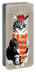 Scarf Weather Cat- Art By Linda Woods Portable Battery Charger