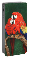 Portable Battery Charger featuring the painting Scarlet Macaws by Anastasiya Malakhova