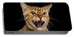 Scary Hissing Bengal Cat On Black Background Portable Battery Charger