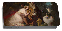 Scene From A Midsummer Night's Dream - Titania And Bottom Portable Battery Charger