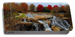 Scene From The Falls Park Bridge In Greenville, Sc Portable Battery Charger by Kathy Barney