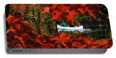 Portable Battery Charger featuring the painting Scenic Autumn Canoe  by Sassan Filsoof