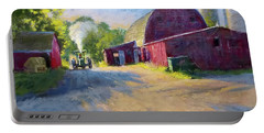 Schober's Barn At Sunset Portable Battery Charger