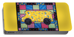 School Bus Quilt Portable Battery Charger by Jim Harris
