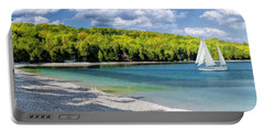 Schoolhouse Beach Panorama On Washington Island Door County Portable Battery Charger