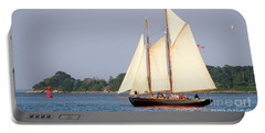 Schooner Cruise, Casco Bay, South Portland, Maine  -86696 Portable Battery Charger by John Bald
