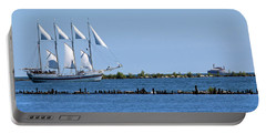 Schooner On Lake Michigan No. 1 Portable Battery Charger