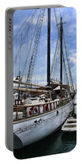 Schooner On The Dock Portable Battery Charger