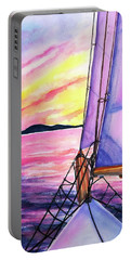 Portable Battery Charger featuring the painting Sailboat Sunset Cruise On Schooner Surprise  by Carlin Blahnik CarlinArtWatercolor