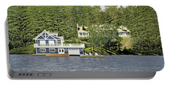 Portable Battery Charger featuring the painting Schultz Summer Home Muskoka by Kenneth M Kirsch