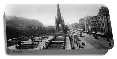 Scott Monument On Princes Street And Castle Portable Battery Charger