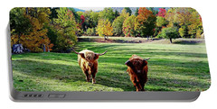 Scottish Highland Cattle - New Hampshire Fall Foliage Portable Battery Charger