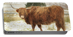 Scottish Red Highland Cow In Winter Portable Battery Charger