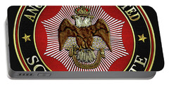 Scottish Rite Double-headed Eagle On Black Leather Portable Battery Charger
