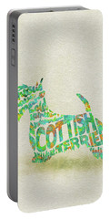 Portable Battery Charger featuring the painting Scottish Terrier Dog Watercolor Painting / Typographic Art by Inspirowl Design