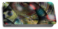 Portable Battery Charger featuring the digital art Screaming Spirals by Yul Olaivar