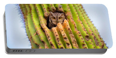 Screech Owl In Saguaro Portable Battery Charger