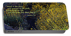 Portable Battery Charger featuring the photograph Scripture - Matthew 7 Verse 14 by Glenn McCarthy Art and Photography