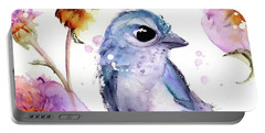 Portable Battery Charger featuring the painting Scrub Jay In The Wildflowers by Dawn Derman