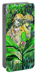 Sculpted Children And A Spring Bud Portable Battery Charger