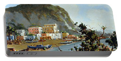 Sea And Mountain With Boats Portable Battery Charger