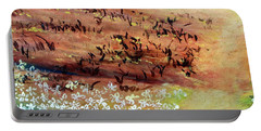 Portable Battery Charger featuring the painting Sea Earth  by Winsome Gunning