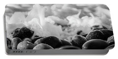 Sea Foam B-w Portable Battery Charger by Sergey Simanovsky