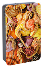 Sea Horses And Sea Shells Portable Battery Charger by Garry Gay