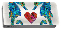 Sea Lovers - Seahorse Beach Art By Sharon Cummings Portable Battery Charger