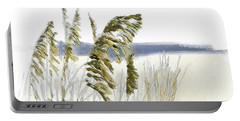 Portable Battery Charger featuring the digital art Sea Oats by Gina Harrison