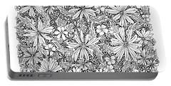 Sea Of Flowers And Seeds At Night Horizontal Portable Battery Charger by Tamara Kulish