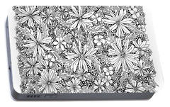 Sea Of Flowers And Seeds At Night Horizontal Portable Battery Charger by Tamara Kulish