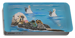Portable Battery Charger featuring the painting Sea Otter And Guardians by Phyllis Kaltenbach