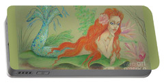 Sea Siren, Resting -- Whimsical Mermaid Drawing Portable Battery Charger