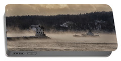 Sea Smoke At Rockland Breakwater Light Portable Battery Charger