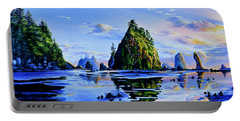 Portable Battery Charger featuring the painting Sea Stack Serenity by Hanne Lore Koehler
