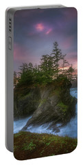 Portable Battery Charger featuring the photograph Sea Stack With Trees Of Oregon Coast by William Lee