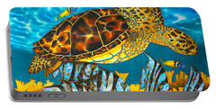 Sea Turtle And Atlantic Spadefish Portable Battery Charger