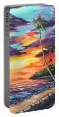 Portable Battery Charger featuring the painting Sea Wall Lahaina by Darice Machel McGuire