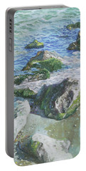 Portable Battery Charger featuring the painting Sea Water With Rocks On Shore by Martin Davey