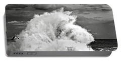 Seagull And A Wave Bw Portable Battery Charger by Michael Cinnamond