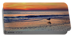 Portable Battery Charger featuring the photograph Seagull At Sunrise by Nicole Lloyd
