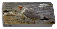 Portable Battery Charger featuring the photograph Seagull Feeding by Tony Murtagh