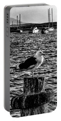 Seagull Perch, Black And White Portable Battery Charger