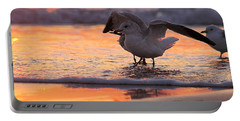 Seagull Stretch At Sunrise Portable Battery Charger