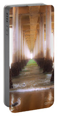 Portable Battery Charger featuring the photograph Seagull Under The Pier by Jerry Cowart