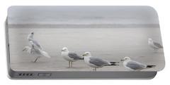 Seagulls On Foggy Beach Portable Battery Charger