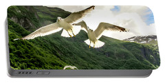 Seagulls Over The Fjord Portable Battery Charger